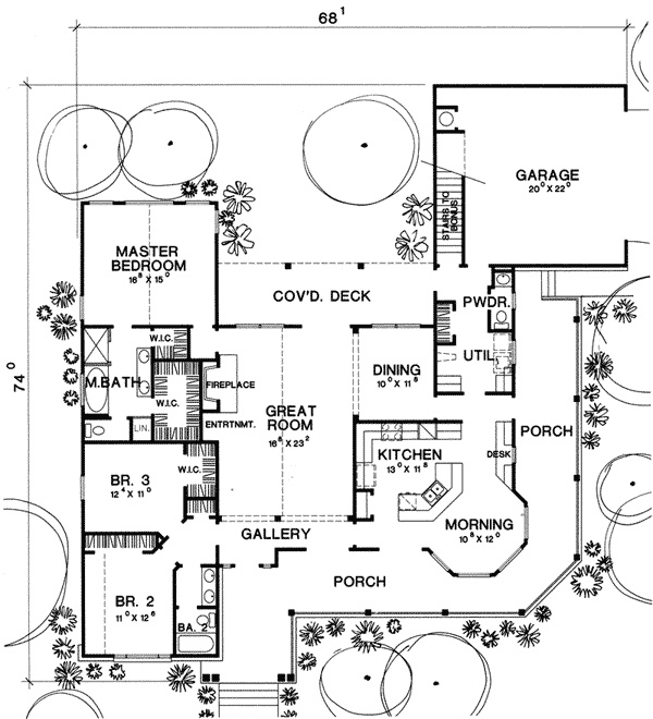 Country Ranch House Plans: Parc Crest Country Ranch Home