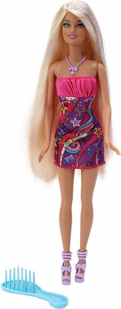 Barbie Hair Tastic Salon Hairtastic Doll Long Blonde Glitter 2017 W3211 New