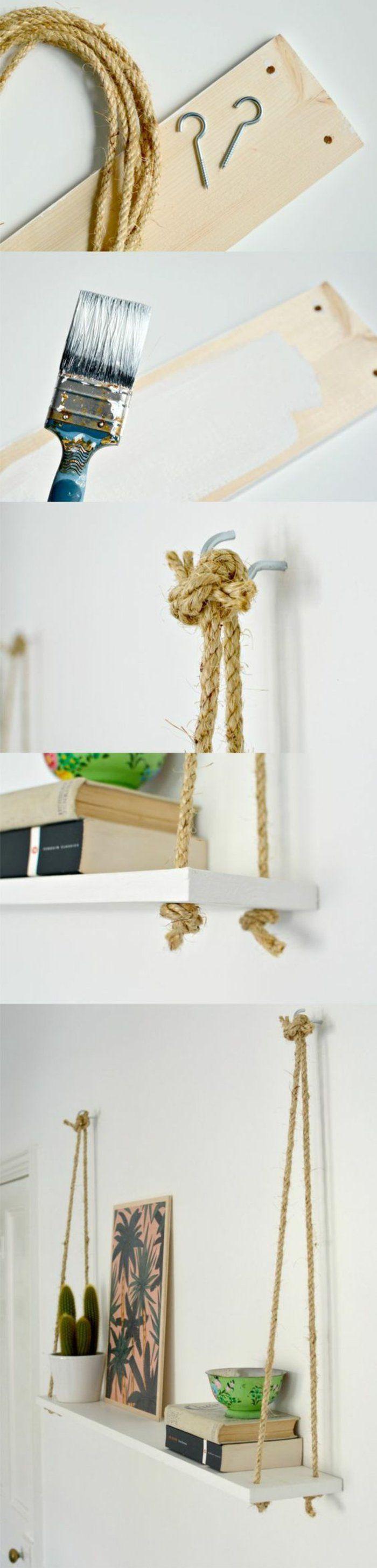 13 wandregal holz seile hängende regale diy farbe b+cher bild pdlanzen