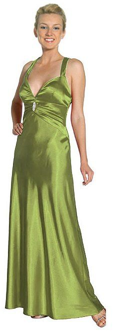 CLEARANCE - LIMITED STOCK - Olive Prom Dress Halter Criss Cross Open Back Satin Gown