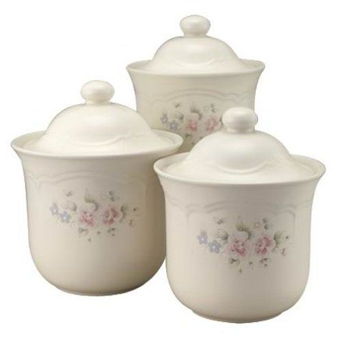 pfaltzgraff pfaltzgraff tea rose 3piece canister set