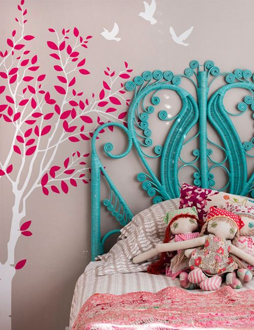 "Painting a pretty wicker headboard is a lovely transition idea for little girls room to ""big girl's room"": adding an instant pop of color, texture, shape & form for minimal expense."