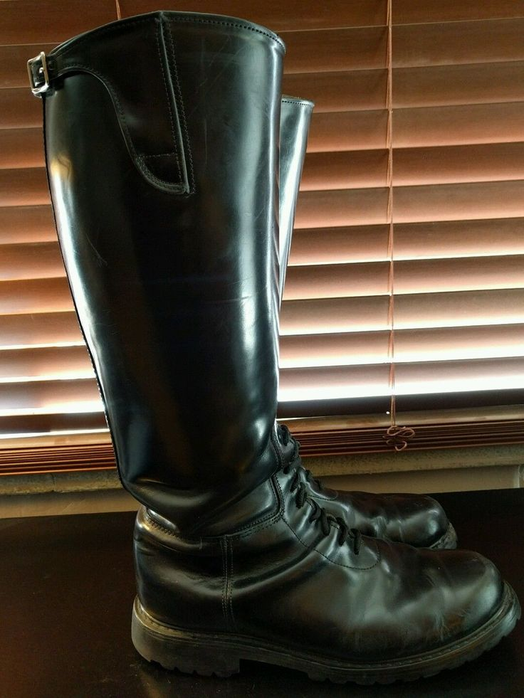 leather well worn used patrol motorcycle boots
