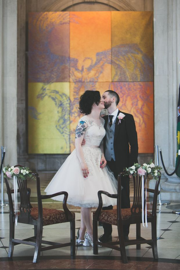 Pastel, Rock n Roll Dublin City Wedding by Wild Things Wed | www.onefabday.com  dublin city wedding, Fallon and Byrne wedding, house of mooshki dress, pink dress, irregular choice shoes, pink wedding dress, Dublin wedding
