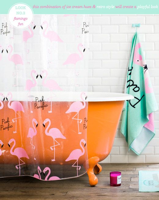 Flamingo Fun bathroom, I would never do this... But I love tubs like this and that tile..