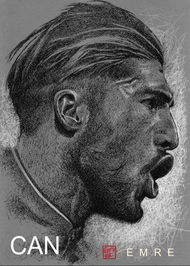 Emre Can : Liverpool FC : black pen drawing Illustration #Liverpool #TheKopArtsStudio #liverpoolfc #football #thisisanfield #lfc #lovelfc #ynwa #picoftheday #matchday #art #drawing #Illustration