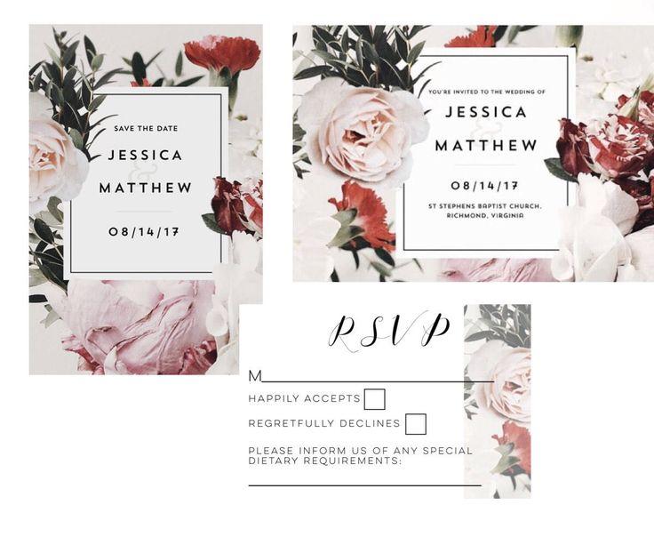 Excited to share the latest addition to my #etsy shop: Botanical Wedding Invitation-Wedding Invitation set-Wedding invitations-Invitation-Wedding invite-Boho Wedding-Invitations #weddings #invitation #white #pink #weddinginvitation #weddinginvite #invitations #floralinvitations #weddingkit