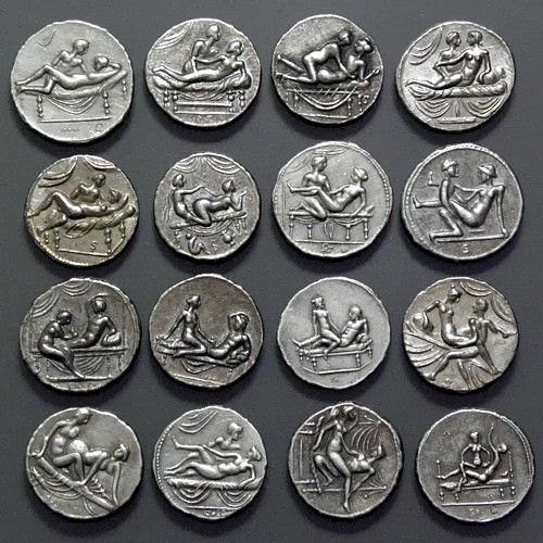 Spintriae erotic Roman tokens 16 pcs set of tin replica coins. tin | 23 mm. 16 pcs set of Roman Spintriae hand struck of pure tin.The rare Roman erotic tokens dating back to the 1st century AD called Spintriae were originally struck from an alloy of brass/bronze. One side of the token depicts the sexual act - always a man with a woman while the other side bears a Roman numeral within a wreath.