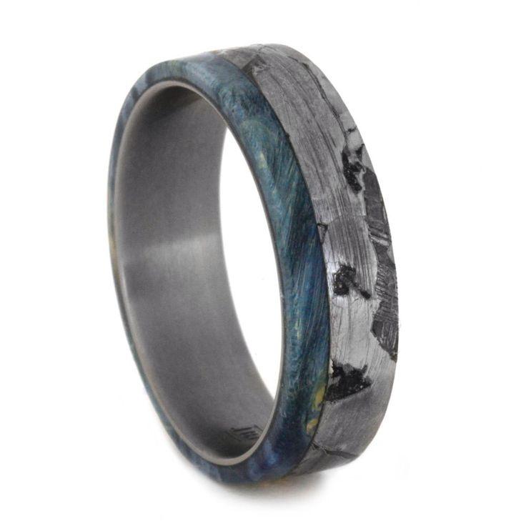 Seymchan Meteorite Wedding Band With Blue Box Elder Burl, Mens Titanium Ring With Wood by jewelrybyjohan on Etsy https://www.etsy.com/listing/244055170/seymchan-meteorite-wedding-band-with