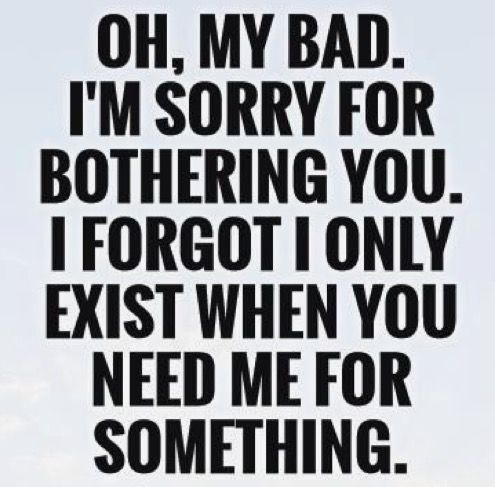 Oh, my bad. I'm sorry for bothering you. I forgot I only exist when you need me for something.