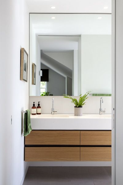 I like this faucet/mirror/countertop combination, as an alternate to the in-mirror faucets.