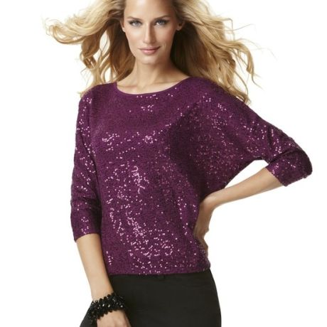 Inc International Concepts Dolman Sleeve Sequin Top