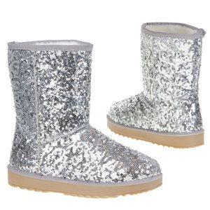 Dames boots / UGG-look laarzen met glitter pailletten - zilver