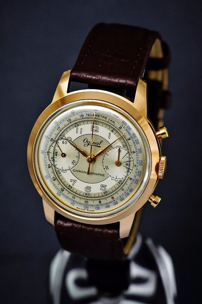 Ogival majestic oversized 39 mm vintage Chronograph in superb condition ca 1955 #OgivalSwiss