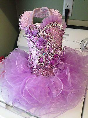 12 mo-slim 2t Lavender Glitz Pageant Dress!