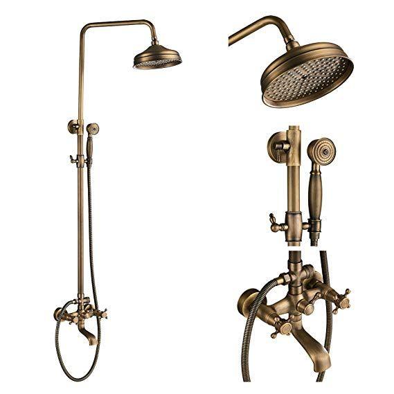Black Polished Brass Rainfall Round Brass Hand Held Shower Head Set For Bathroom