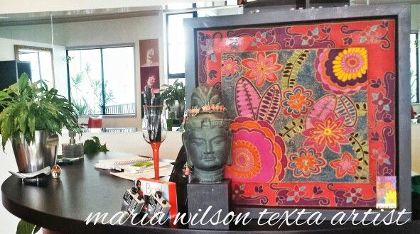 A hand painted batik copy of a texta art design...beautifully placed in my fave hairdressing salon...Salon Aloft Byron Bay