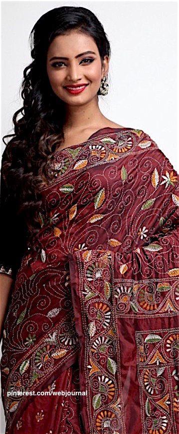 Handstitched Kantha embroidery on handloom silk fron Indiansilkhouse.com