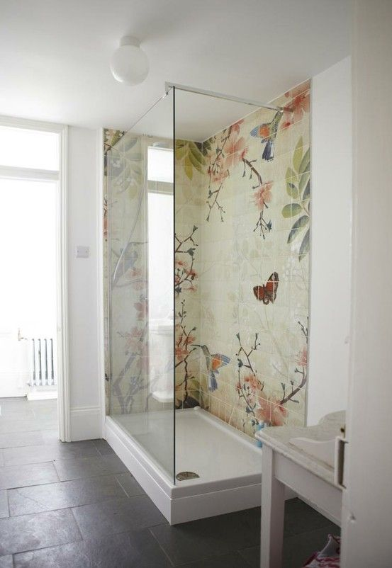 bathroom shower - closer to size, wider by 1' - change mosaic