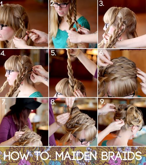 Steps 1-2: Braid two strands on each side of a center part.     Steps 3-5: Wrap braids around the crown of your head and pin in place with one pin each.     Step 6: Arrange braids so that they cover the front of your head like a headband. Pin into place more securely until you feel comfortable.     Steps 7-8: Pull the rest of the hair into a ponytail and pin it into a cute messy bun. Note: This step is optional. You can also wear your hair down    Step 9: Add final pins and spray. Enjoy!