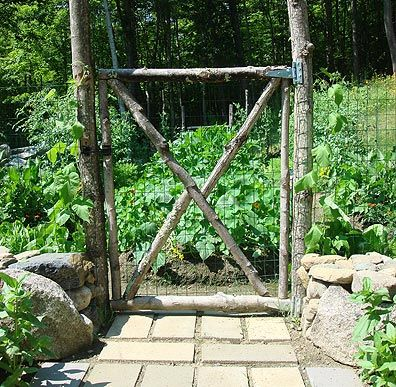 I was having a problem w/bunnies and dogs in the garden this year. I showed Charles a few of these pictures and he crafted a gate like this for me. ;)K