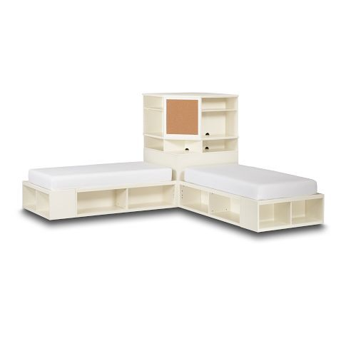 great shared room bed set up......when their older and we have more space.  Store-It Bed + Corner Unit Sets | PBteen