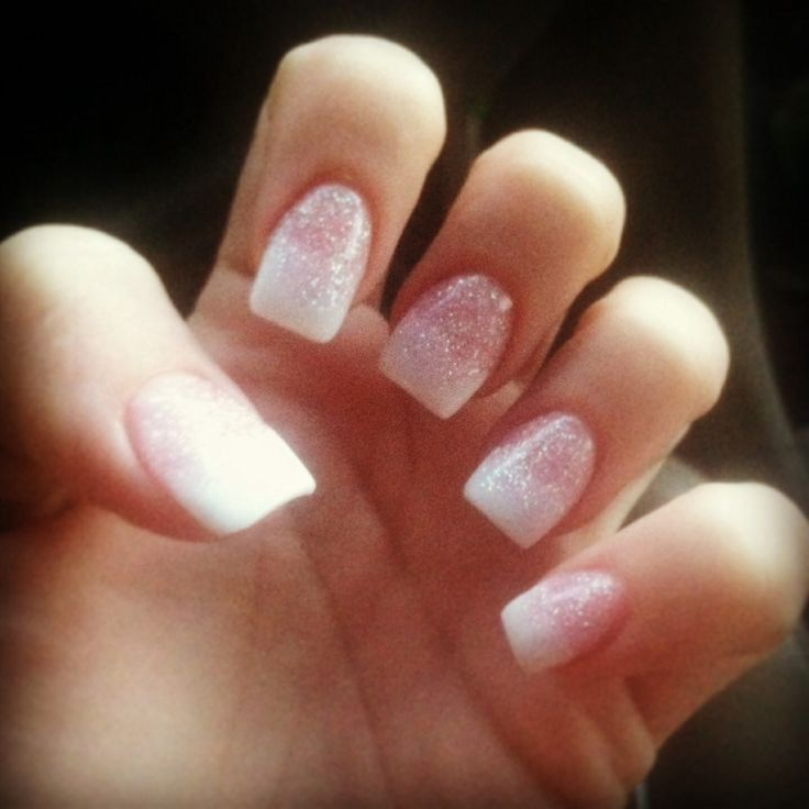 Glitter solar nails with ombré to French tips | Nails | Pinterest