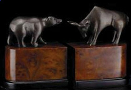 Wall Street Bookends, Bronze/Burlwood by BEY-BERK INTERNATIONAL. $126.09. Bronzed brass statues represent both states of the economic market. Set atop elegant burlwood, these are an addition of sophistication to any dcor. Measures 5.75 x 3.75 x 7.5 (per side) Weighs 4 lbs. Makes stellar gift for stock broker, or any business minded professional. Representing the two natures of the stock market, this handsome Bull and Bear bookend set is the perfect gift for the...