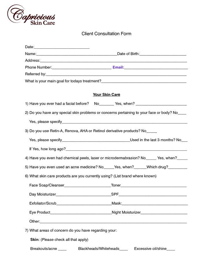 image chemical peel consultation form | Client Consultation Form (PDF)