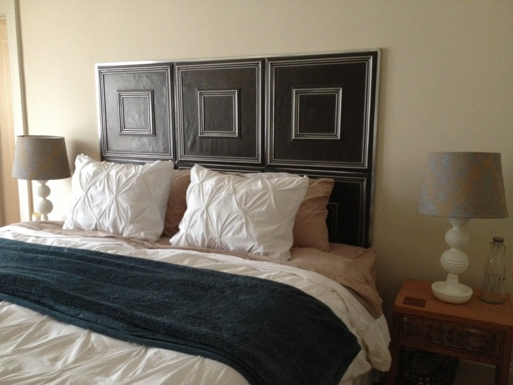 We Used Faux Tin Ceiling Tiles To Make A Diy Headboard