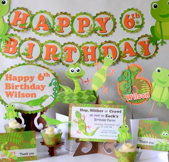 Reptile Party Decorations, Frog Birthday, Snake Party -Banner, Cake Topper, Cupcake Toppers