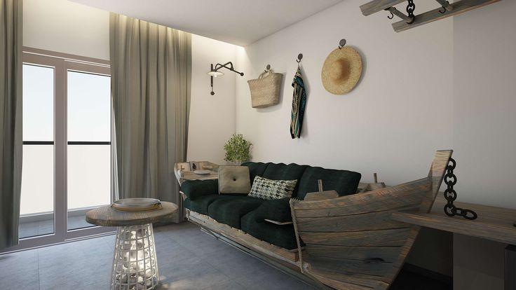 Kavos Junior Suite - Living Room, Elakati Luxury Boutique Hotel, Rhodes , Greece