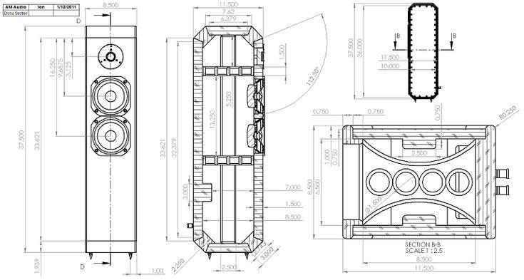 Ion 2-Way TMM Tower Loudspeaker Enclosure Drawing