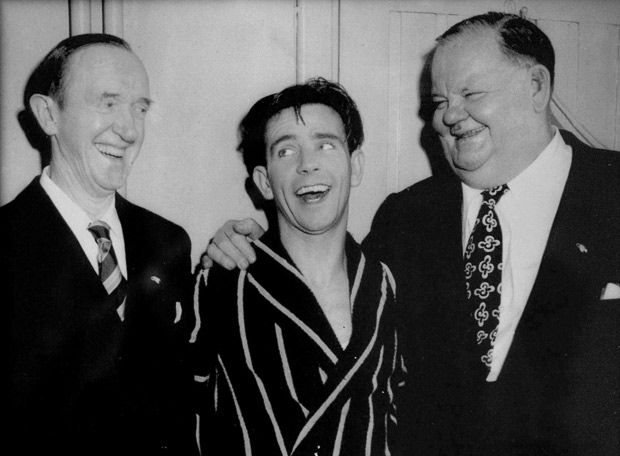 Sir Norman Wisdom, the comedian and actor, has died at the age of 95. Norman with Laurel and Hardy.