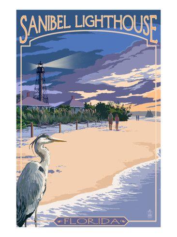 Sanibel Lighthouse - Sanibel, Florida Prints by Lantern Press at AllPosters.com