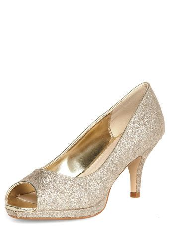Gold Mid Heel P Toe Court Shoes Going Out Occasion