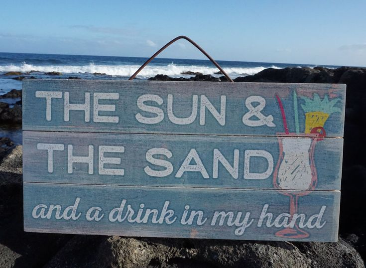 SUN SAND & DRINK IN MY HAND Tropical Beach Wood Home Decor Tiki Bar Sign NEW #Tropical