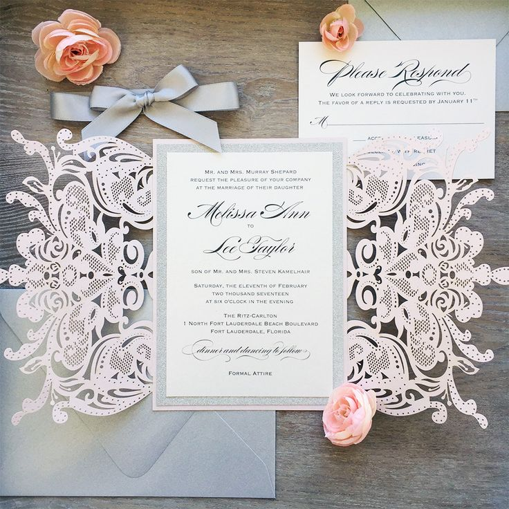 Blush Laser Cut Wedding Invitation With Silver Glitter And Satin Bow