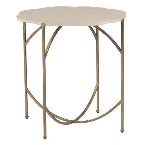 Gillian Antique Gold Cream Limestone Flower Top End Table By Kathy Kuo  Home, Http: