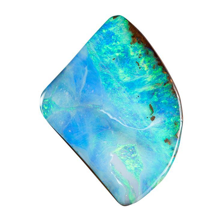 Gebohrter Boulder Opal mit traumhafter Landschaft in Türkis