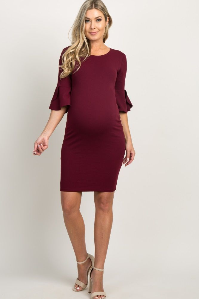 6587c63c827b6 Burgundy Fitted Ruffle Sleeve Maternity Dress | JR. | Maternity ...