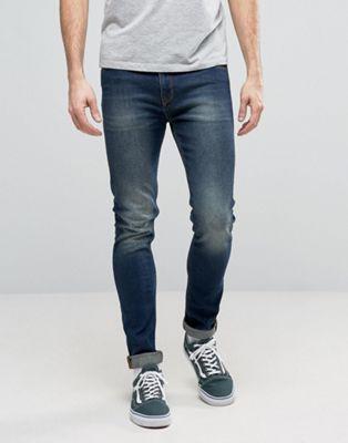 Темно-синие джинсы суперскинни ASOS