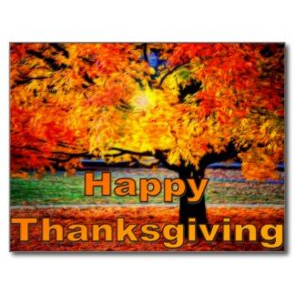Happy Thanksgiving Fall Postcard