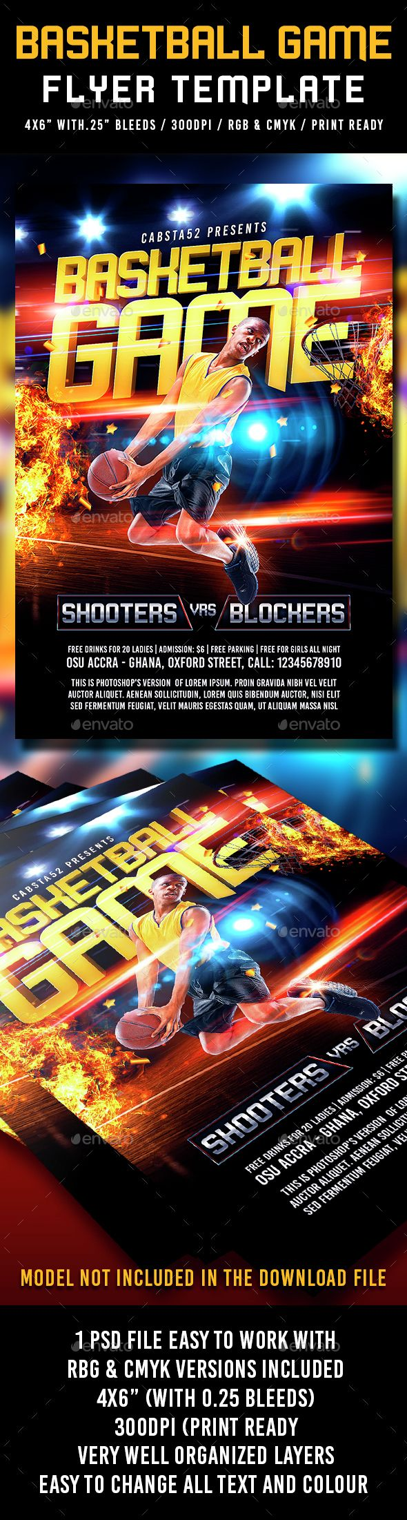 Basketball Game Flyer Template PSD. Download here: http://graphicriver.net/item/basketball-game-flyer-template/14842098?ref=ksioks