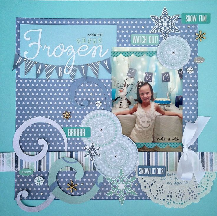 Samantha Walker's Imaginary World FROZEN scrapbook layout and party ideas