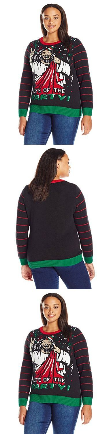 Ugly Christmas Sweater Women's Plus Size Life of the Party, Black, 1X