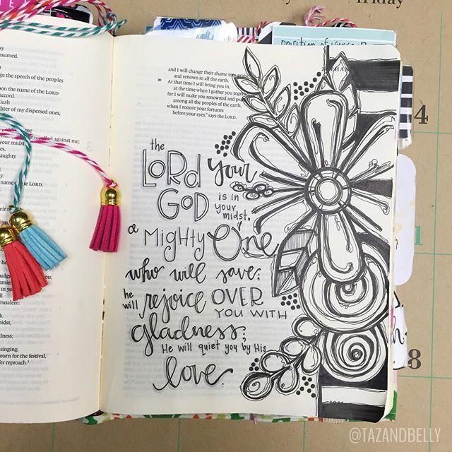 Bible Journaling by Kristin Fields @tazandbelly | Zephaniah 3:17
