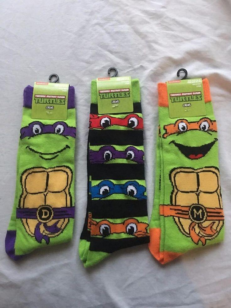 2 Pair Teenage Mutant Ninja Turtles Men's Dress Socks Shoe Size 6.5-12 Gift -L13 #Nickelodeon #DressSocks