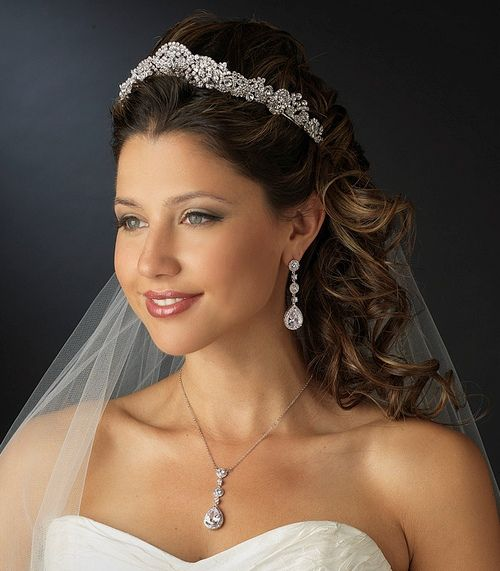 Majestic Wedding Tiara And Matching CZ Jewelry Set