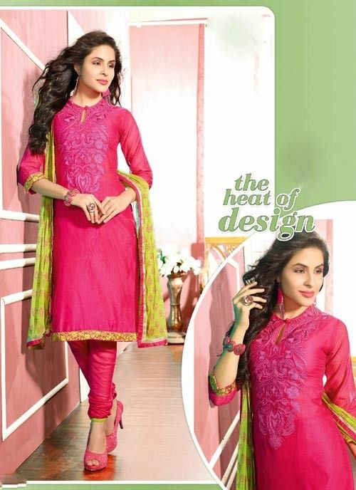 Cunningly Pink & Yellow Chiffon Based #Salwar #Suit With Resham Work #churidarsuits #ethnicwear #womenapparel #womenfashion